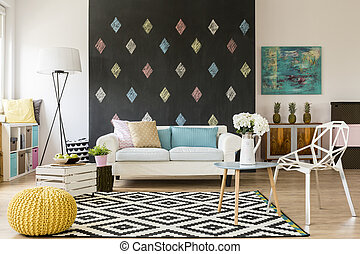 Living room with touch of creativity - Modern flat with...