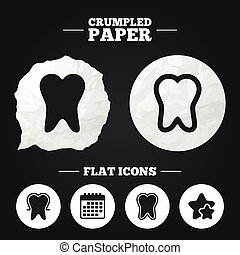 Tooth enamel protection icons Dental care signs - Crumpled...