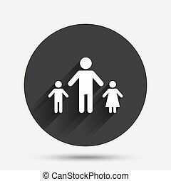 One-parent family with two children sign icon Father with...