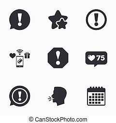 Attention icons Exclamation speech bubble - Attention icons...