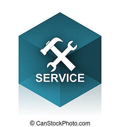 service blue cube icon, modern design web element