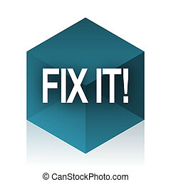 fix it blue cube icon, modern design web element
