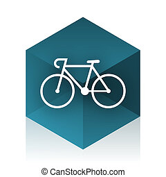 bicycle blue cube icon, modern design web element