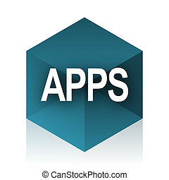 apps blue cube icon, modern design web element