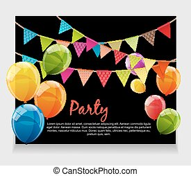 Party Background Baner with Flags and Balloons Vector...