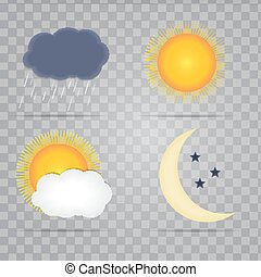 Weather Icons with Sun, Cloud, Rain and Moon Vector Illustration