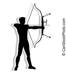 Competitive man practicing Archery - Silhouette of man...