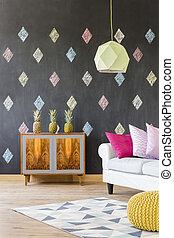 Positive mood interior idea - Stylish flat with blackboard,...