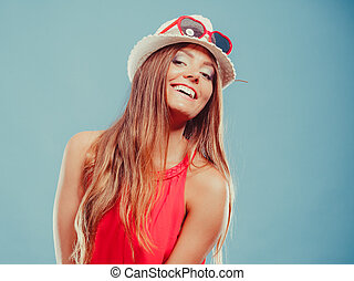 Cute fashion woman in hat and red shirt. Portrait. -...