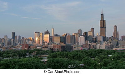 Golden Chicago Skyline Lapse Sunset - Video timelapse of...