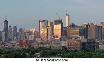 Golden Chicago Skyline Lapse Sunset