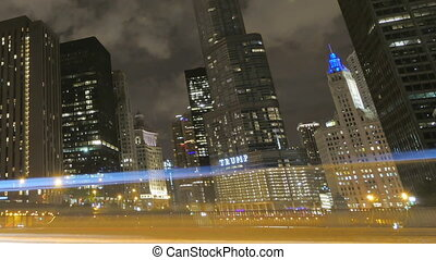 Chicago Skyscrapers at Night - Video timelapse of Chicago...