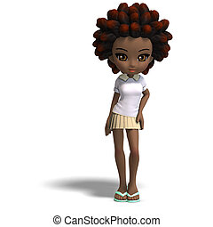 cute little cartoon school girl with curly hair. 3D...