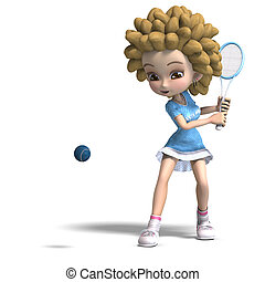 funny cartoon girl with curly hair plays tennis. 3D rendering with clipping path and shadow over white