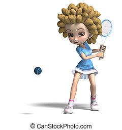 funny cartoon girl with curly hair plays tennis. 3D...