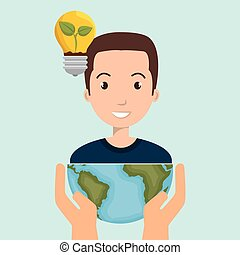 persons with planet isolated icon design