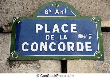 Place de la Concorde - Paris, France - Street sign for Place...