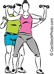 PERSONAL TRAINER MAN AND WOMAN WORKOUT ILLUSTRATION
