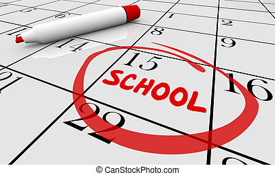 Back to School Day Date Education Training Calendar 3d Illustration
