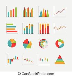 事務, 圖表, 彙整, 矢量, 插圖, 圖表