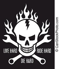 Skull and crossed wrenches - Vector illustration of skull...