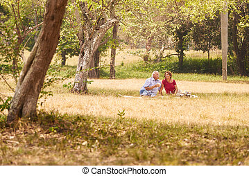 Senior Couple Senior Man And Woman Doing Picnic