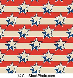 Stars stripes USA patriotic seamless background. - Retro...