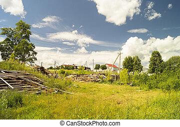 Rural landscape on background blue sky