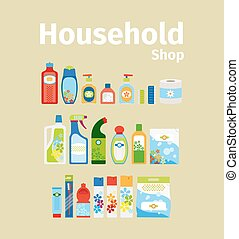 Household goods shop icon set. Vector illustration
