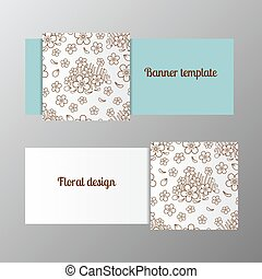 Horizontal banner template ornate flower Vector illustration...