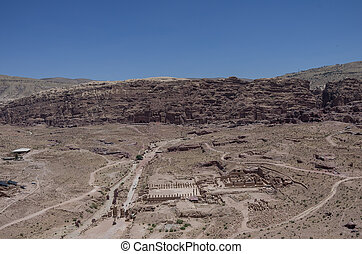 View to Royal Tombs, Cardo Maximus and Great Temple from Al Habis mountain. Panorama of Petra ancient city. Jordan