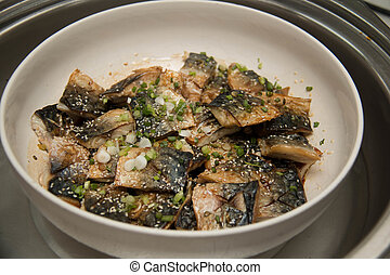 Grill Saba, Japanese seawater fish, with sauce and vegetable