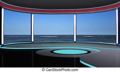 News TV Studio Set -189 - News TV Studio Set 189- Virtual...
