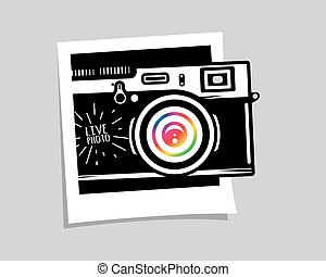 Vintage photo camera out of photoframe, vector illustration...