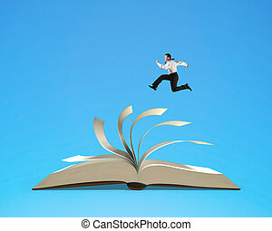 Businessman running on flipping pages of open book isolated...