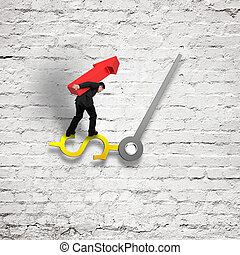 business carrying red arrow balancing on clock hand with old bricks wall,  3D rendering