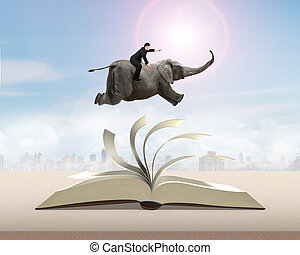 Man sitting on elephant running and jumping on flipping...