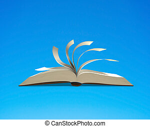 Open book with flipping pages isolated in blue background,...