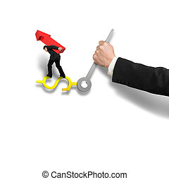 Businessman carrying red arrow sign balancing on money clock...