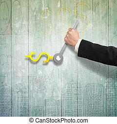 Hand holding clock hands in money sign on wooden floor, 3D...