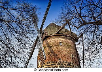 Windmill in Zons am Rhein - Old historic windmill in Zons am...