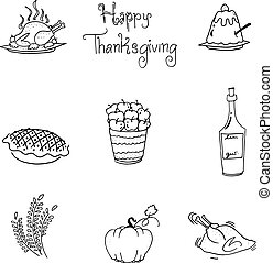 Doodle of thanksgiving food flat design