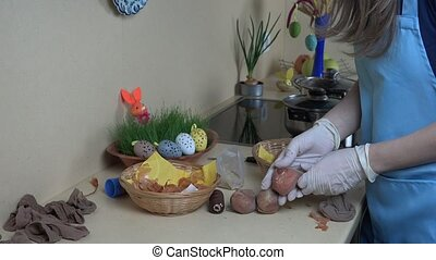 Easter eggs painting using natural organic materials Static...