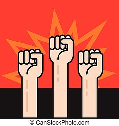 Fists hands up, protest sign, crowd of protesters, revolution war