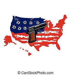 American Flag And Gun - American Flag With Bullet Holes And...