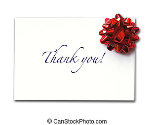 Thank you card with bow, isolated on white background
