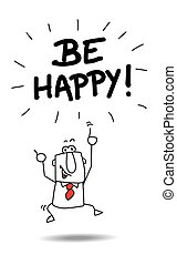 Be happy - Joe, the businessman is very happy. he's jumping