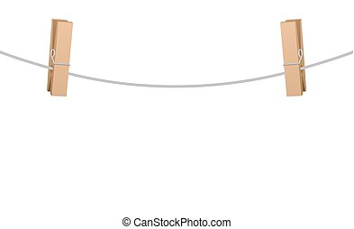 Two Clothespins On Clothesline Rope - Two wooden clothespins...