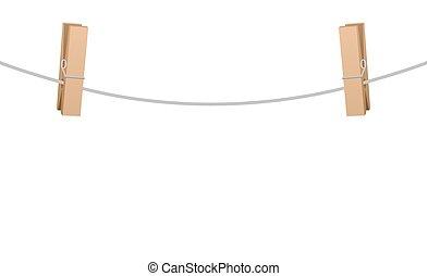 物干し綱, Clothespinsストックイラストレーション