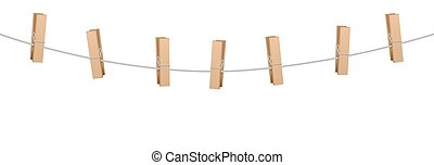 Clothes Pins Clothes Line Rope - Clothes pins on a clothes...